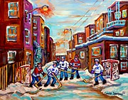 Hockey Rinks Paintings - Back Lane Hockey Practice Pointe St.charles Montreal City Winter Scene Painting Carole Spandau by Carole Spandau