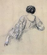 Pencil Sketch Framed Prints - Back of a Young Woman Framed Print by Antoine Auguste Ernest Herbert