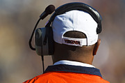 Cavaliers Posters - Back of Mike London Head with Headset Virginia Cavaliers Poster by Jason O Watson