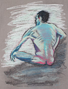 Relaxed Pastels Metal Prints - Back of Sitting Man Metal Print by Asha Carolyn Young