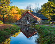 Wayside Inn Grist Mill Prints - Back of the Grist Mill Print by Michael Blanchette