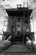 Caboose Photo Prints - Back of the Line - BW Print by Steve Hurt