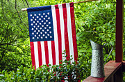 Flag Pole Framed Prints - Back Porch Americana Framed Print by Carolyn Marshall