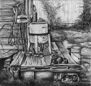 Country Scenes Drawings - Back Porch by Anthony Hurt