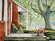 Back Yard Paintings - Back Porch Geraniums by John W Walker