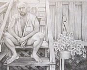Homoerotic Drawings Framed Prints - Back Porch Framed Print by Michael Flynt