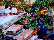 Back Porch Paintings - Back Porch Steps by Janet Peters