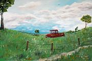 Country Dirt Roads Painting Posters - Back Roads Poster by Ruben  Flanagan