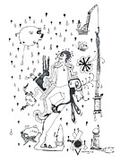 Raining Drawings Posters - Back Rooms of My Mind Door 15113 Poster by Michael Mooney