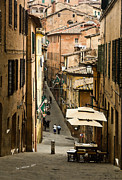 Old Buildings Posters - Back Street in Siena Italy Poster by Jim  Calarese