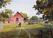 Barn Yard Prints - Back to the Barn Print by Carol Reesor
