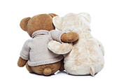 Togetherness Originals - Back view of two Teddy bears hugging each other by Ivelin Radkov