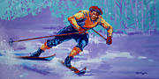 Marathon Painting Originals - Backcountry Skiing by Derrick Higgins