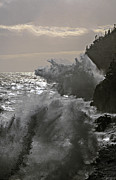 Maine Photographs Prints - Backlit Waves at Gullivers Hole Print by Marty Saccone