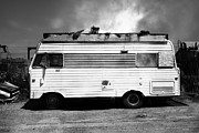 Whimsy Photos - Backroads Americana Abandoned Recreational Vehicle RV 5D22705 black and white by Wingsdomain Art and Photography