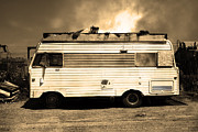 Trailers Posters - Backroads Americana Abandoned Recreational Vehicle RV 5D22705 Sepia Poster by Wingsdomain Art and Photography