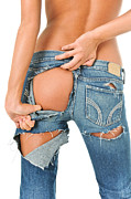 Ripping Framed Prints - Backside of a sexy girl in torn blue jeans  Framed Print by JT PhotoDesign