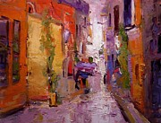 Backlit Painting Framed Prints - Backstreet in Rovinj Framed Print by R W Goetting