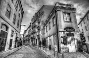 Backstreets Prints - Backstreets Of Lisbon BW Print by Nigel Hamer