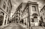 Backstreets Prints - Backstreets Of Lisbon Sepia Print by Nigel Hamer