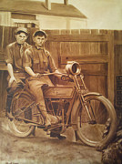 Harley Davidson Paintings - Backyard Bikers by The Vintage Painter by The Vintage Painter