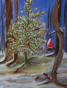 Red Birds In Snow Prints - Backyard Christmas tree Print by Linda Eversole