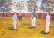 Cricket Paintings - Backyard Cricket under the hot Australian Sun by Pamela  Meredith