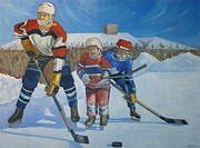 Ice Hockey Paintings - Backyard Ice Hockey by Christina Clare