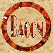 Savory Framed Prints - Bacon Typography 1 Framed Print by Andee Photography