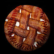 Baseballs Mixed Media Posters - Bacon Weave Baseball Square Poster by Andee Photography