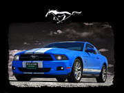 Ford Mustang Framed Prints - Bad Blue Mustang Version 2 Framed Print by Ken Smith