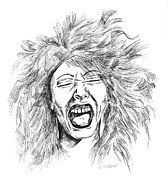 Bad Drawing Drawings Prints - Bad Hair Day Print by Karen Sirard