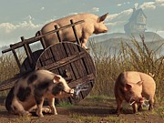 Farm Animals Digital Art Posters - Bad Pigs Poster by Daniel Eskridge