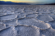 Salt Flats Posters - Bad Water at Sunset Death Valley Poster by Pierre Leclerc
