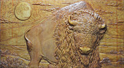 Bas Relief Reliefs Prints - Badlands Bull Print by Jeremiah Welsh