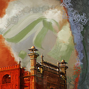 Expressionism Painting Originals - Badshahi Mosque 2 by Catf