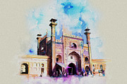 Pakistan Painting Posters - Badshahi Mosque Gate Poster by Catf