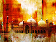 Historic Buildings Drawings Posters - Badshahi Mosque or The Royal Mosque Poster by Catf