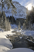 Morning Backlight Prints - Baergunt valley Kleinwalsertal Austria in winter Print by Matthias Hauser
