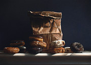 Donuts Painting Prints - Bag Of Donuts Print by Larry Preston
