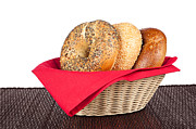 Multigrain Posters - Bagels in basket Poster by Joe Belanger