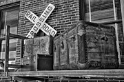 Belongings Posters - Baggage Pickup At The Railroad Depot In Black and White Poster by Thomas Woolworth