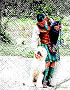Bagpiper Prints - Bagpiper and Sheep Dog Print by Barbara Chichester