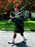 Bagpiper Framed Prints - Bagpiper Profile Framed Print by Susan Savad