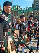 Bagpipers Prints - Bagpipers in the Band in Ottawa-ON Print by Ruth Hager