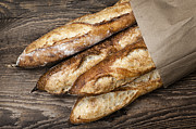 Golden Brown Prints - Baguettes bread Print by Elena Elisseeva
