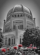 House Of Worship Framed Prints - Bahai Temple Wilmette in black and white Framed Print by Rudy Umans