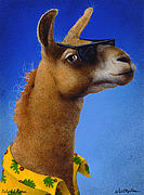 Bahamas Painting Metal Prints - Bahama Llama... Metal Print by Will Bullas