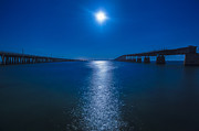 Florida Bridges Digital Art Prints - Bahia Moonrise Print by Dan Vidal