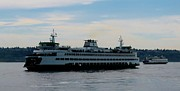 Passenger Ferry Prints - Bainbridge Island Ferry Print by Chaline Ouellet